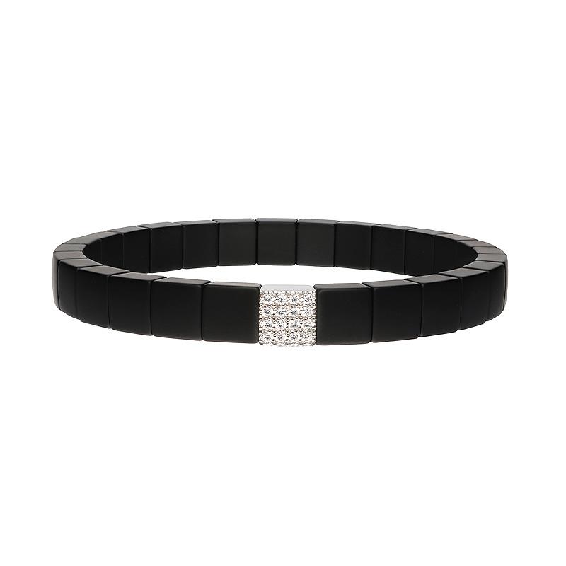 Scacco Matte Black Ceramic Bracelet with One Diamond Station