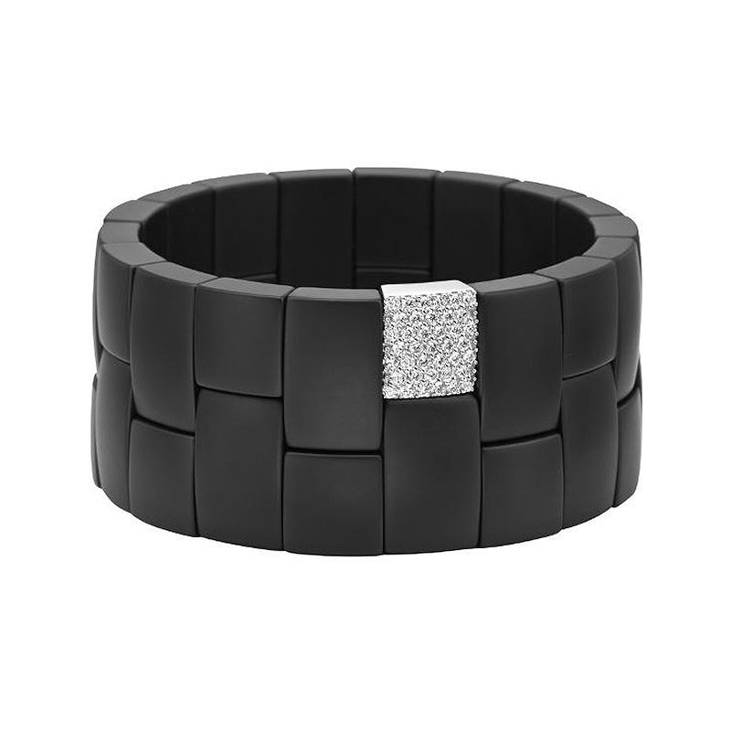 Domino Double Row Wide Matte Black Ceramic Bracelet with Diamonds