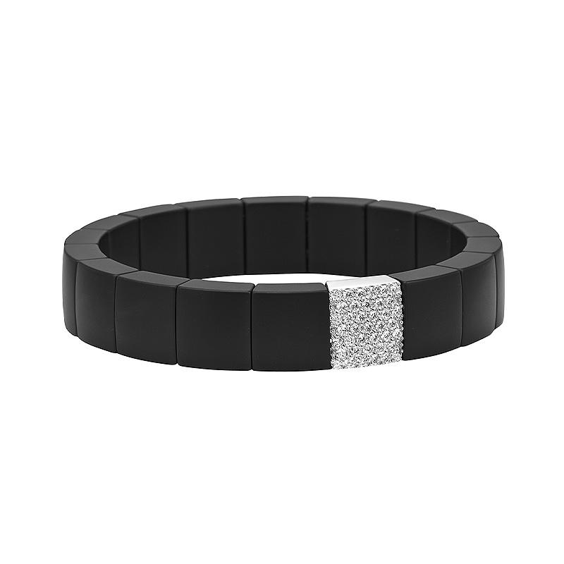 Domino Black Ceramic Stretch Bracelet with Diamonds
