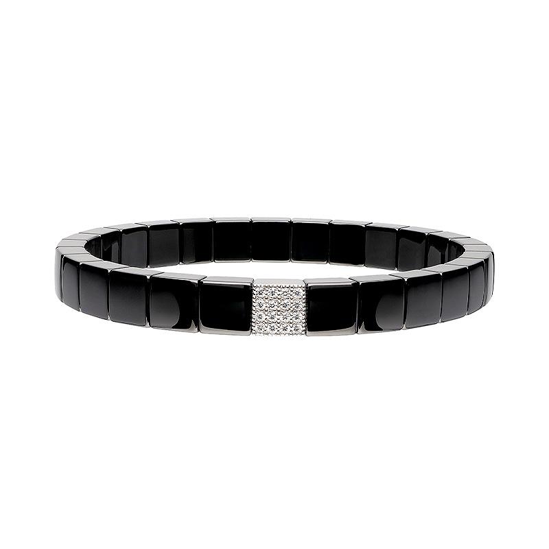 Black Ceramic Stretch Bracelet with One Diamond Station