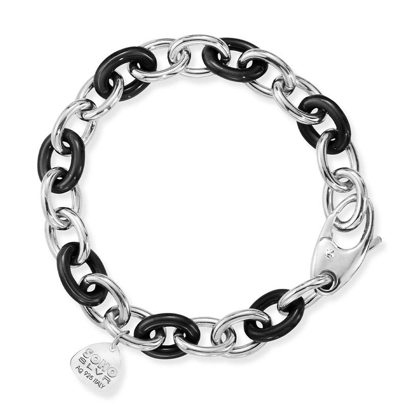 SOHO Sterling Silver and Black Enamel Link Bracelet