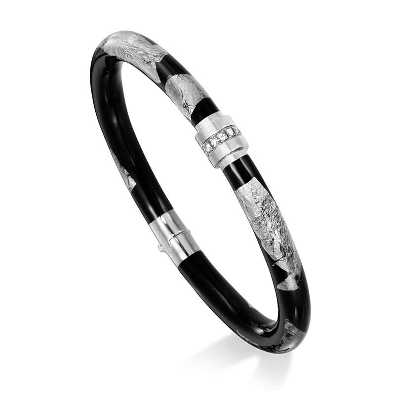 SOHO Medium Black Foliage Enameled Bracelet with One Station of Diamonds 0.12 CT TW