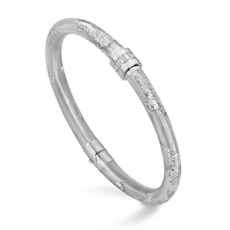 SOHO Enamel Silver Foliage Bangle with Diamond Accents