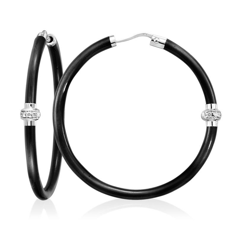 SOHO Sterling Silver Hoop Earrings with 0.14 CT Diamond Stations in Dark Enamel