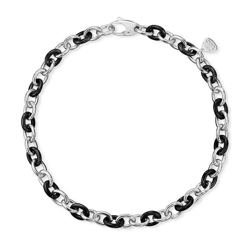 SOHO Sterling Silver and Black Enamel Link Necklace