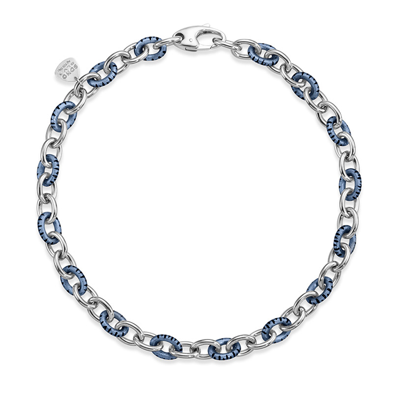 SOHO Sterling Silver Dark Enamel Small Link Necklace with Blue Foliage